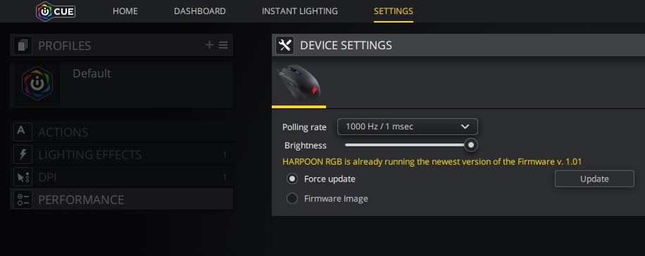 Corsair iCUE - Settings