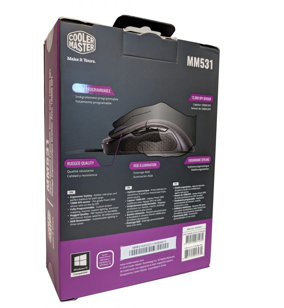 Cooler Master MM531 Gaming Mouse Box Back