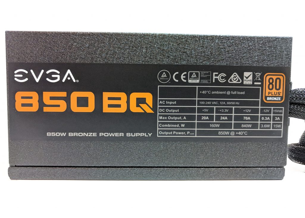 EVGA 850 BQ Power Supply Side