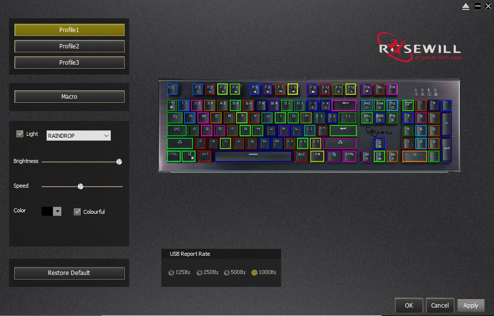 Rosewill NEON K75 RGB Mechanical Keyboard Software LED control