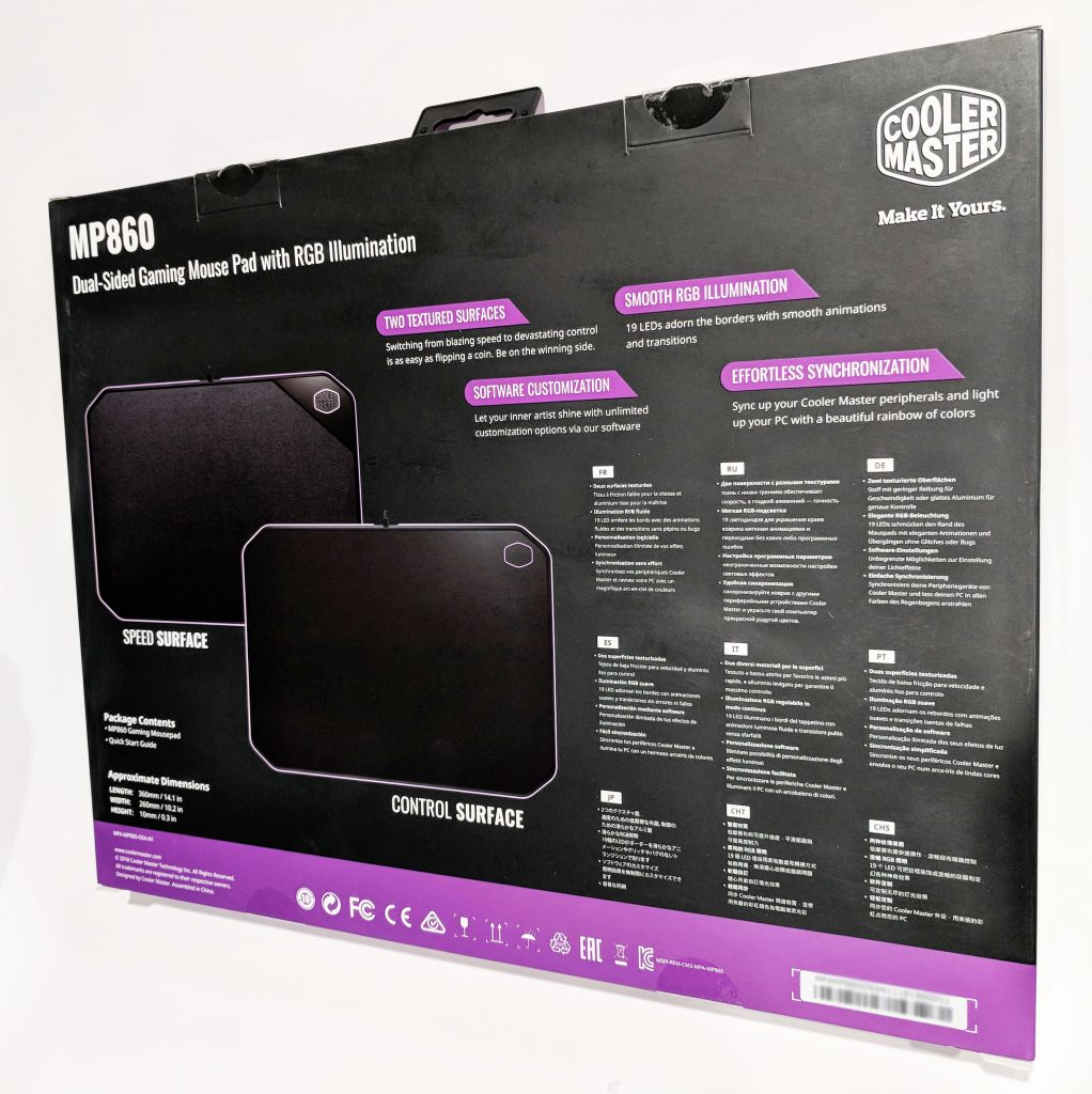 Cooler Master MP860 RGB LED Mouse Pad Box Rear