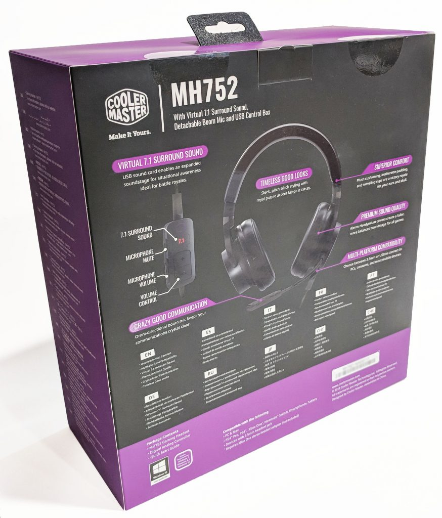 Cooler Master MH752 Gaming Headset Packaging Back Angle