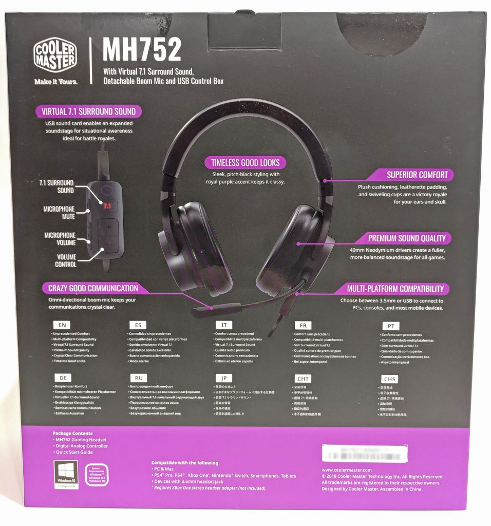 Cooler Master MH752 Gaming Headset Packaging Back