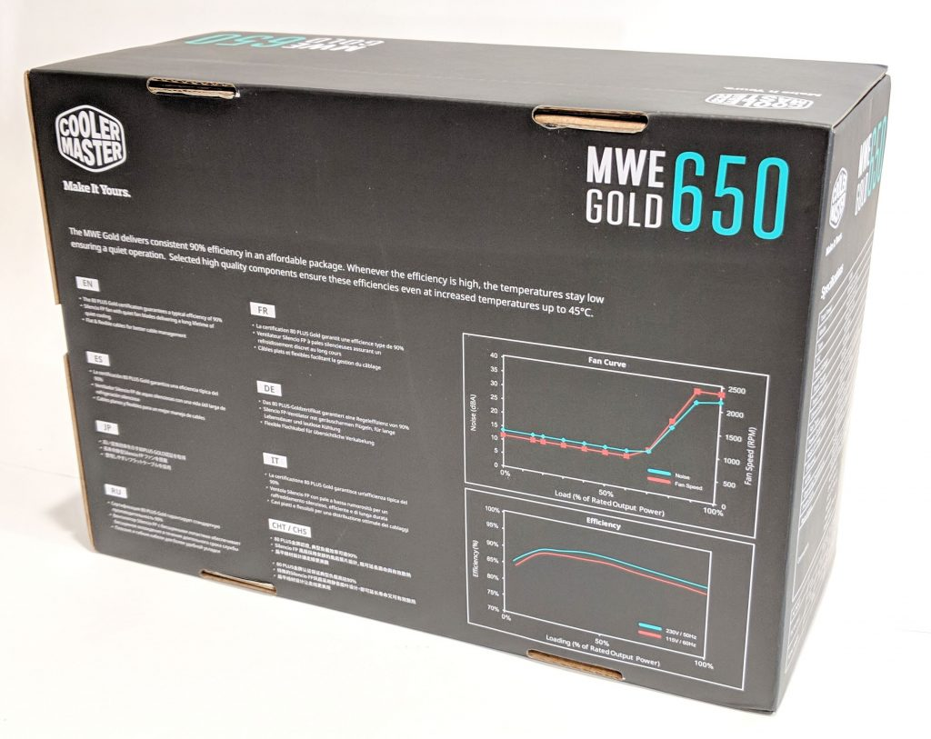 Cooler Master MWE Gold 650 PSU Box Back