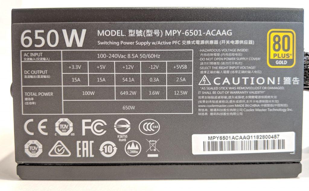 Cooler Master MWE Gold 650 PSU Specs
