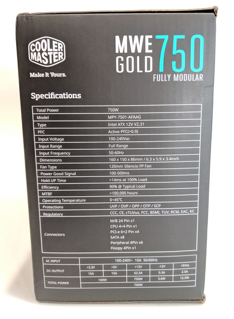 Cooler Master MWE Gold 750 PSU Box Specs