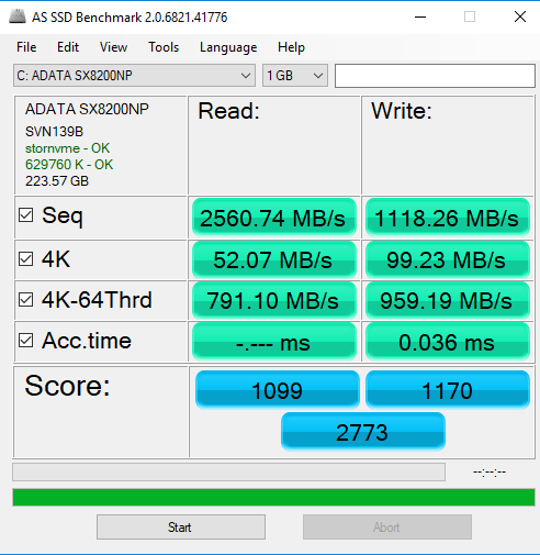 ADATA XPG SX8200 SSD AS SSD Benchmark