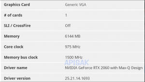 NVIDIA RTX 2060 Mobile Max-QSpecs