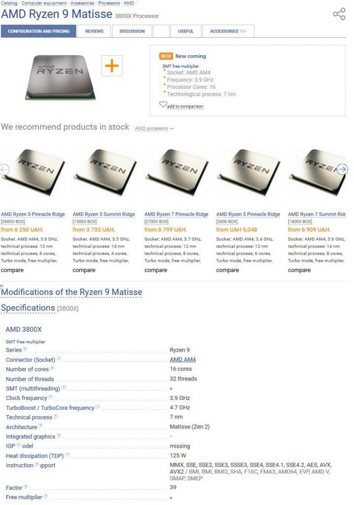 AMD Ryzen 9 3800X Details