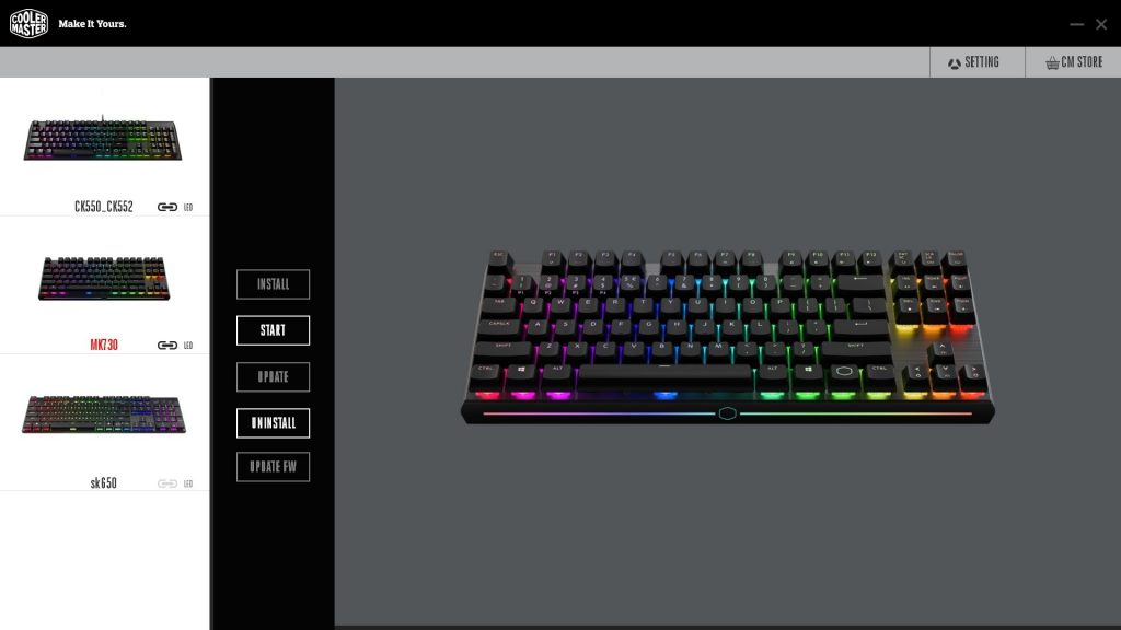 Cooler Master MK730 Tenkeyless Keyboard Software Portal