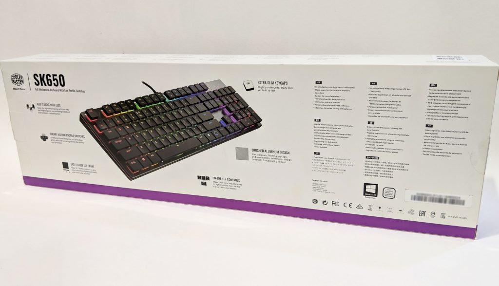 Cooler Master SK650 Keyboard Package Back