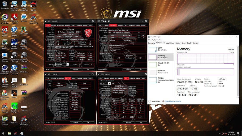 MSI Z390 Motherboard 32GB Modual JEDEC