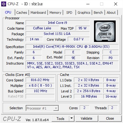 MSI DDR4 Overclock CPUZ