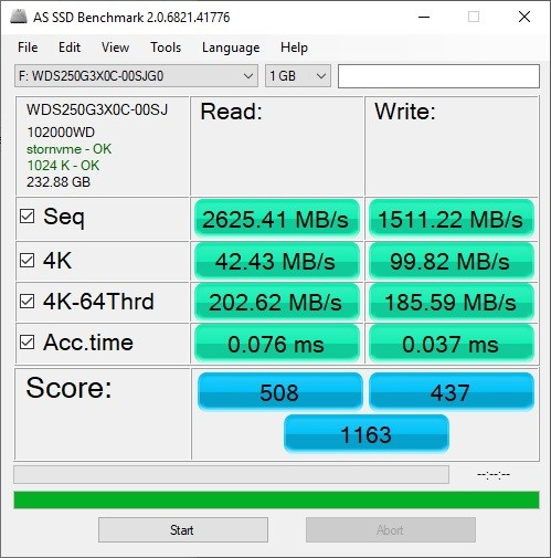 Western Digital WD Back SN750 SSD AS SSD Benchmark