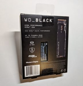 Western Digital WD Back SN750 SSD Box Back