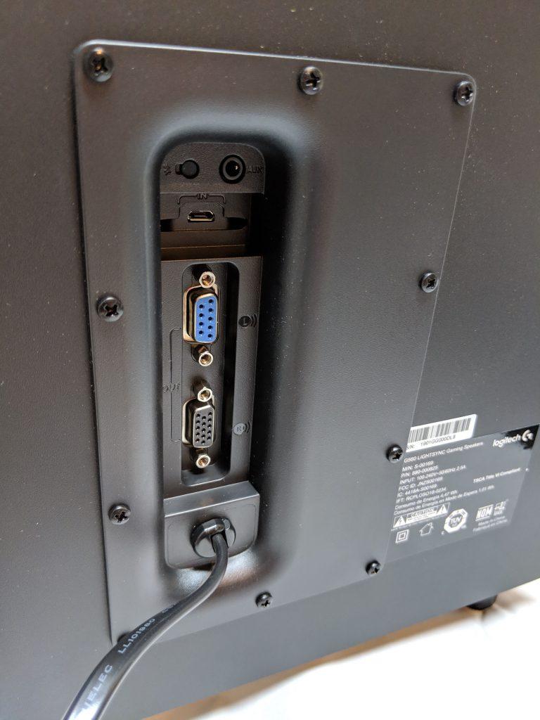 Logitech G560 Gaming Speaker Subwoofer I/O Ports
