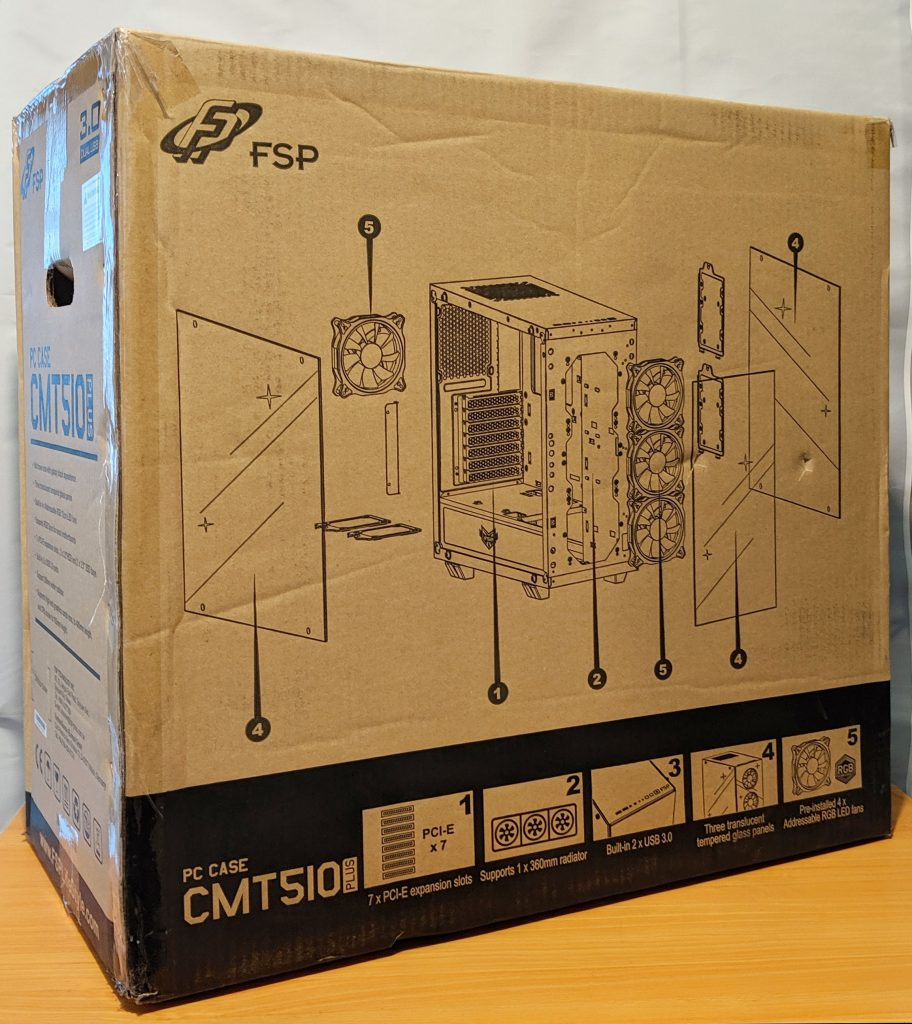 FSP CMT510 Plus Gaming PC Case Box Rear