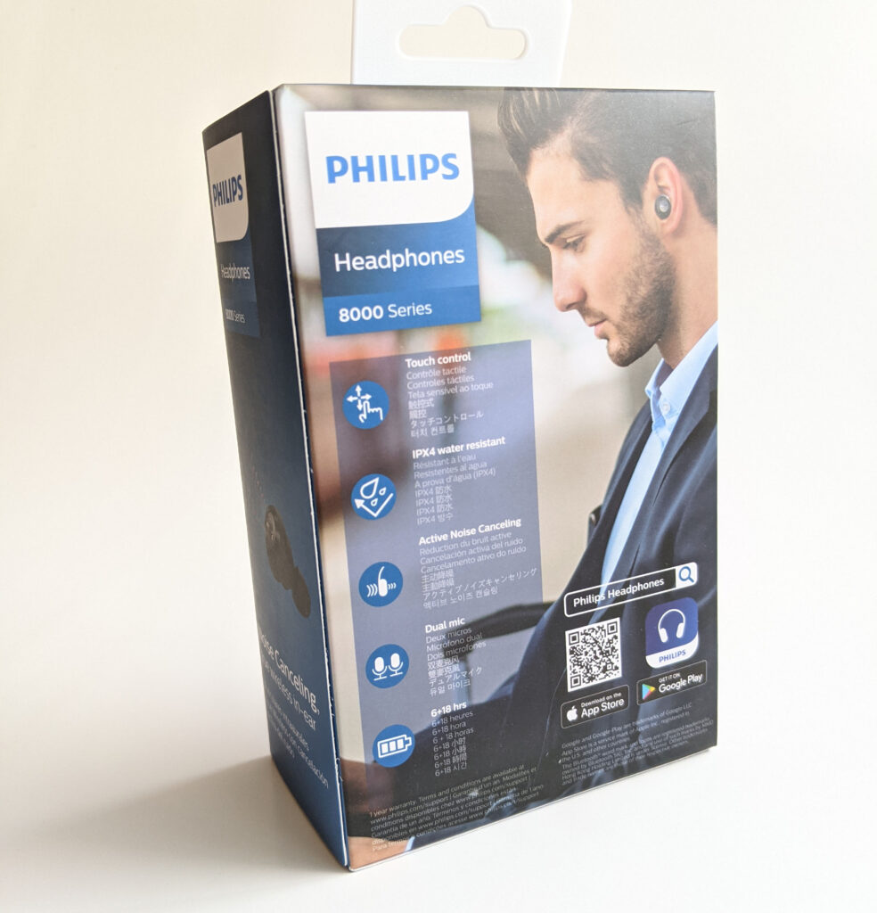 Philips TAT8505BK Earbuds Packaging Back