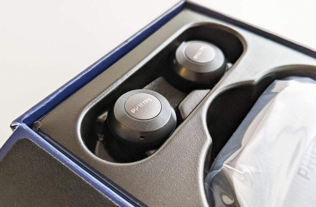 Philips TAT8505BK Earbuds Packaging Closeup