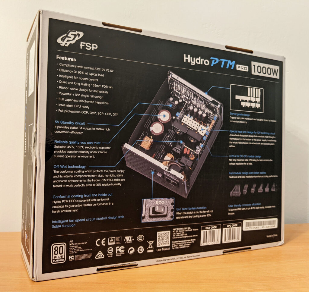 FSP Hydro PTM Pro PSU 1000W Box Back